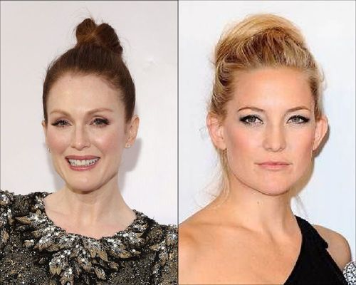 Kate Hudson and Julianne Moore bun hairstyle