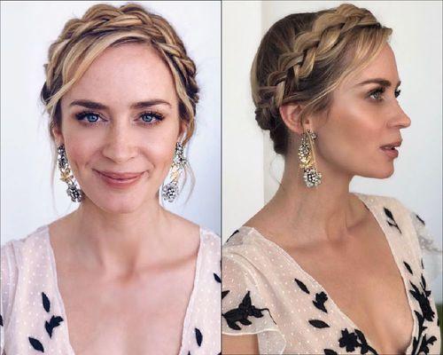 Emily Blunt Milkmaid braid hairstyle-01