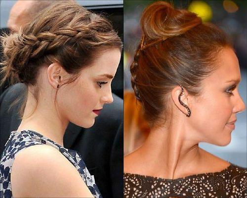Emma Watson and Jessica Alba Bun hairstyle with braids