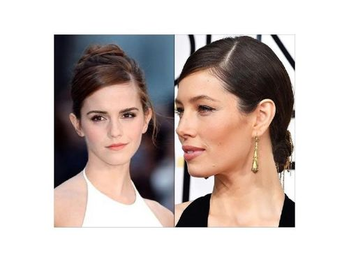 Emma Watson and Jessica Biel Bun hairstyle