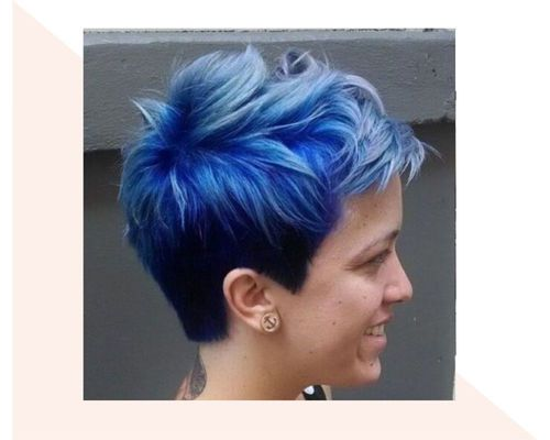 Very Short Blue to Black Ombre