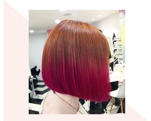 Sleek Ginger to Pink Bob