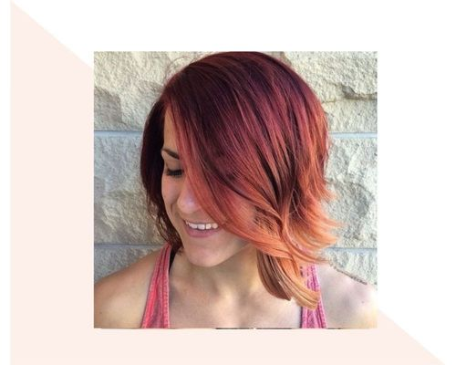 Curly Bob with Red to Copper Ombre