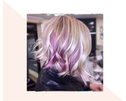 Curly Purple to Blonde Bob