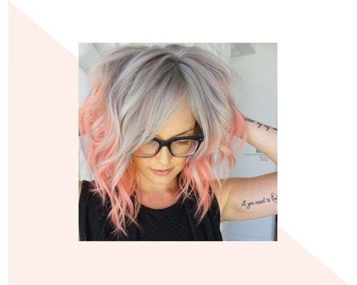 Peach Tips and Silver Hair