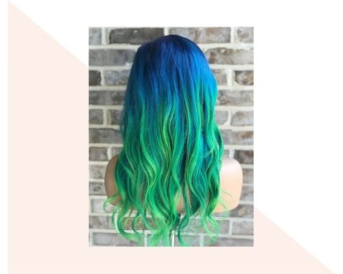 Short Navy to Green Ombre