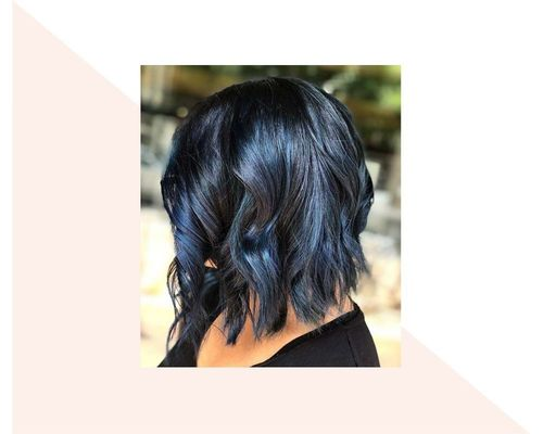 Short Black and Blue Ombre