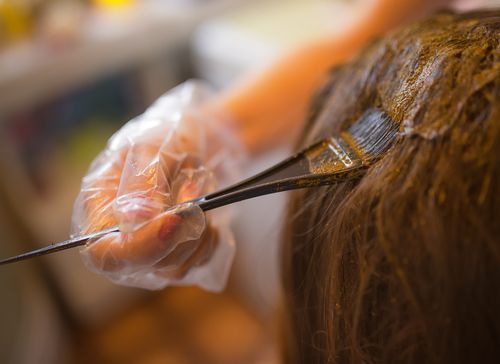 overlapping henna and hair dye