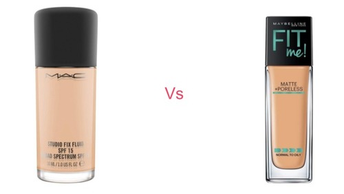 MAC Studio Fix Fluid Foundation SPF 15 vs Maybelline Fit Me Matte + Poreless Foundation