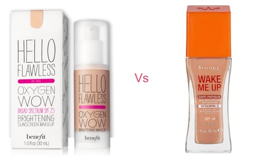 Benefit Hello Flawless Oxygen Wow Foundation vs Rimmel Wake Me Up Foundation