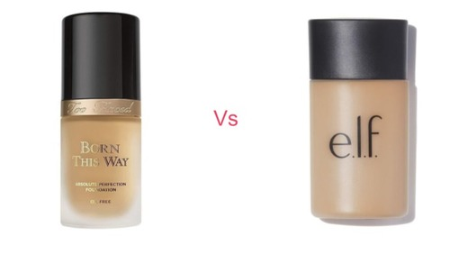 Too Faced Born This Way vs Elf Acne Foundation