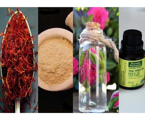 Saffron clay rose water-tea-tree-oil-mask