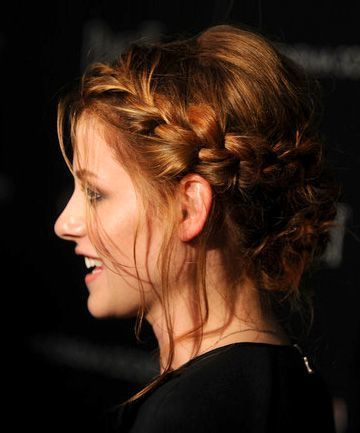 Side-Braided Bun with Bangs2