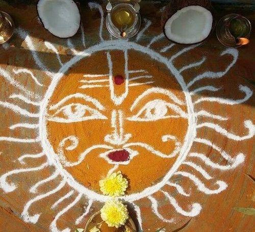 Sun Pongal Kolam Rangoli