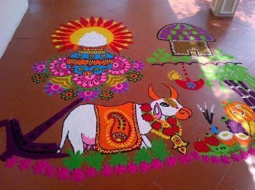 Pongal Rangoli Design With Festival Details