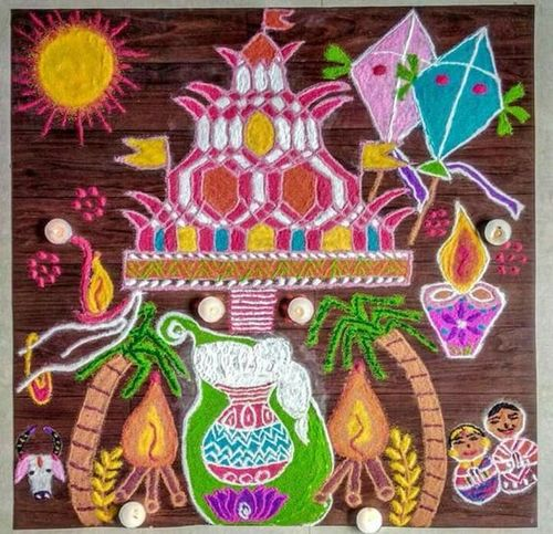 Pongal Rangoli Design Which Summarizes All Days