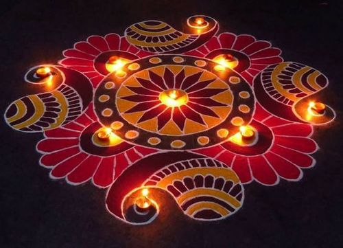 Rangoli Kolam Design - Mesh With Colors