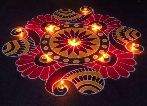 Rangoli Kolam Design - Mesh With Colors