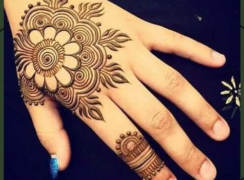 Easy Mehndi Design With Floral Motif-1
