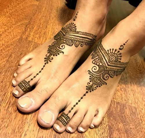 Jewellery Mehndi Design For Foot