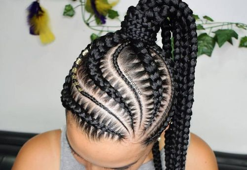 Swirling cornrow hairstyles