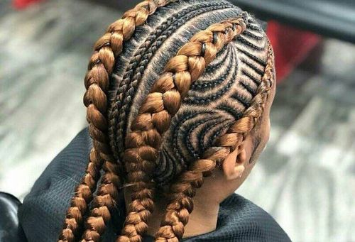 Thin and thick cornrow braids combo