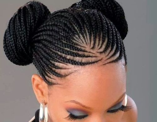 Cornrow braided hairstyles with double buns
