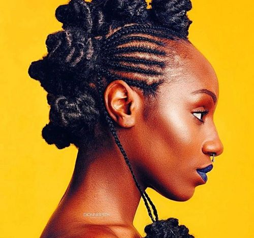 Cornrow braided hairstyleswith multiple buns