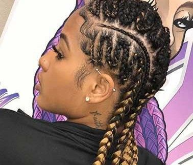 Cornrow braided hairstylewith twist