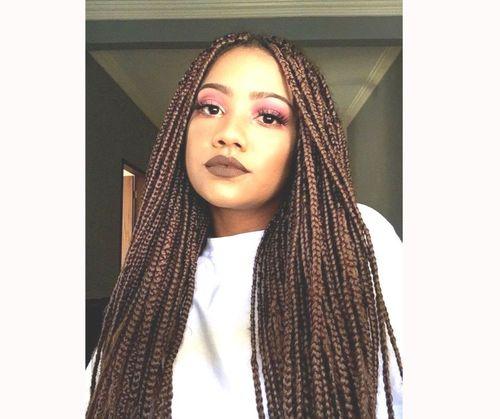 Brown box braids