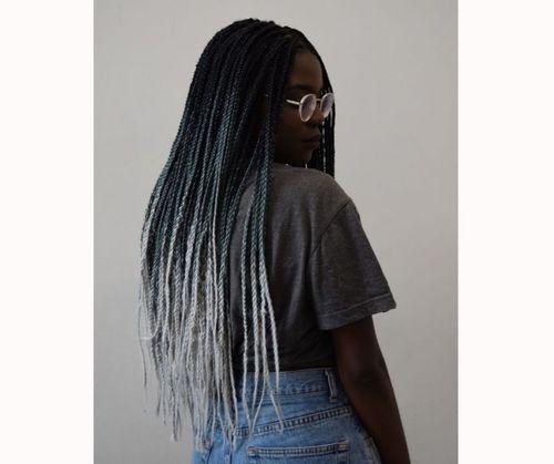 Black and grey box braids