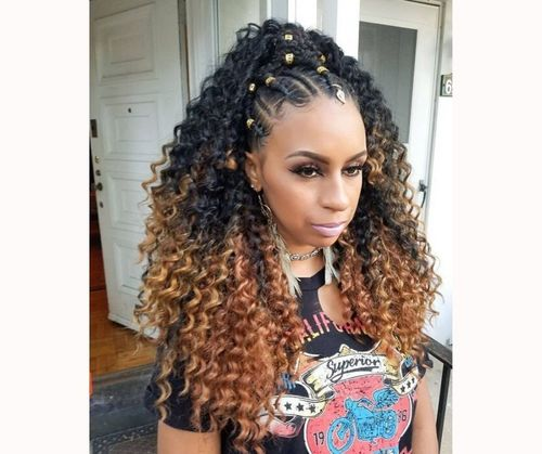 Tribal Braids With Curls
