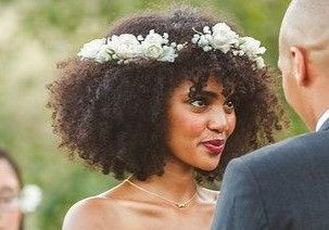 21 Curly hair with floral headband
