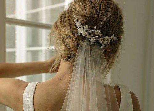 29 Wedding updo with veil