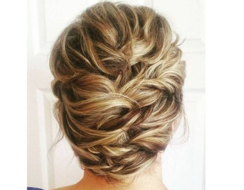 18 Pinned updo for short hair
